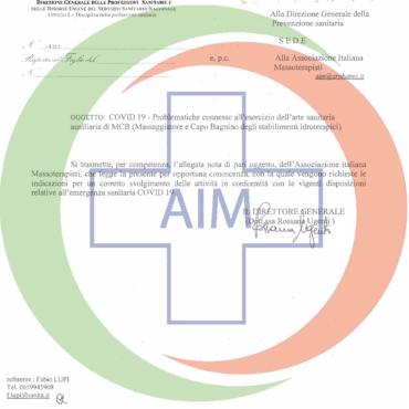 Esercizio della professione MCB – Covid19 – Ministero della Salute